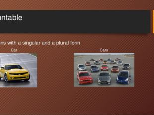 Countable Nouns with a singular and a plural form Car Cars