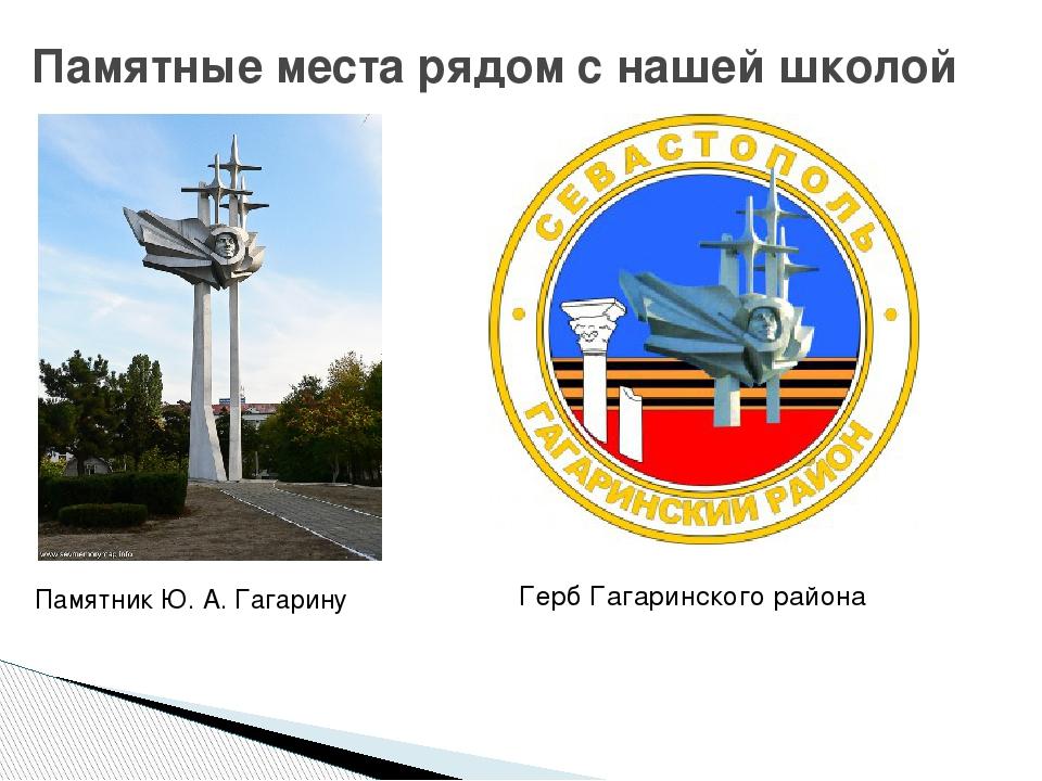 Герб Гагаринского района Памятные места рядом с нашей школой Памятник Ю. А....