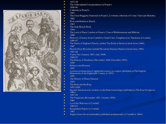 1837-38 The Yellowplush Correspondence in Fraser's. 1839-40 Catherine in Fras...