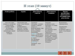 II этап (10 минут) Этапы работы Задачи Деятельность учителяДеятельность уч