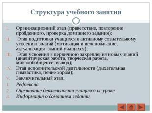 Структура учебного занятия Организационный этап (приветствие, повторение прой