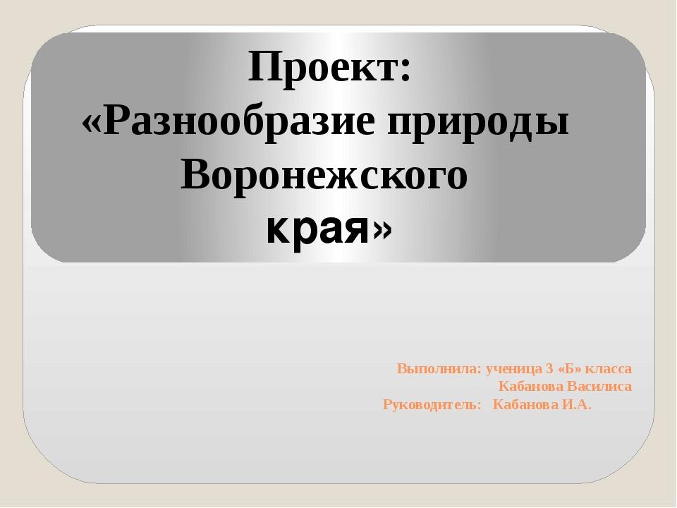 Выполнила: ученица 3 «Б» класса Кабанова Василиса Руководитель: Кабанова И.А....