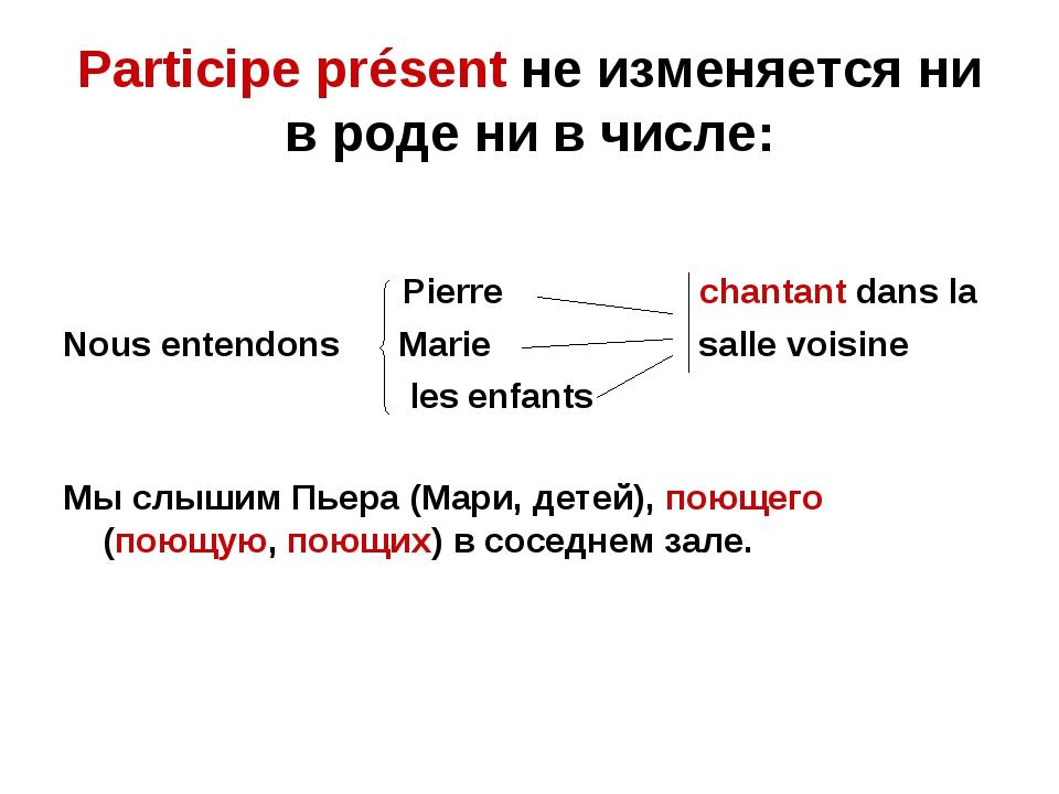 Participe présent не изменяется ни в роде ни в числе: Pierre chantant dans la...