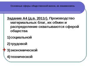 Основные сферы общественной жизни, их взаимосвязь Задание А4 (д.в. 2011г). Пр