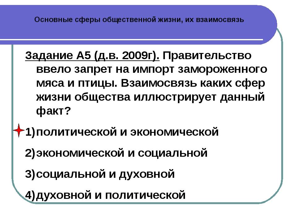 Основные сферы общественной жизни, их взаимосвязь Задание А5 (д.в. 2009г). Пр...