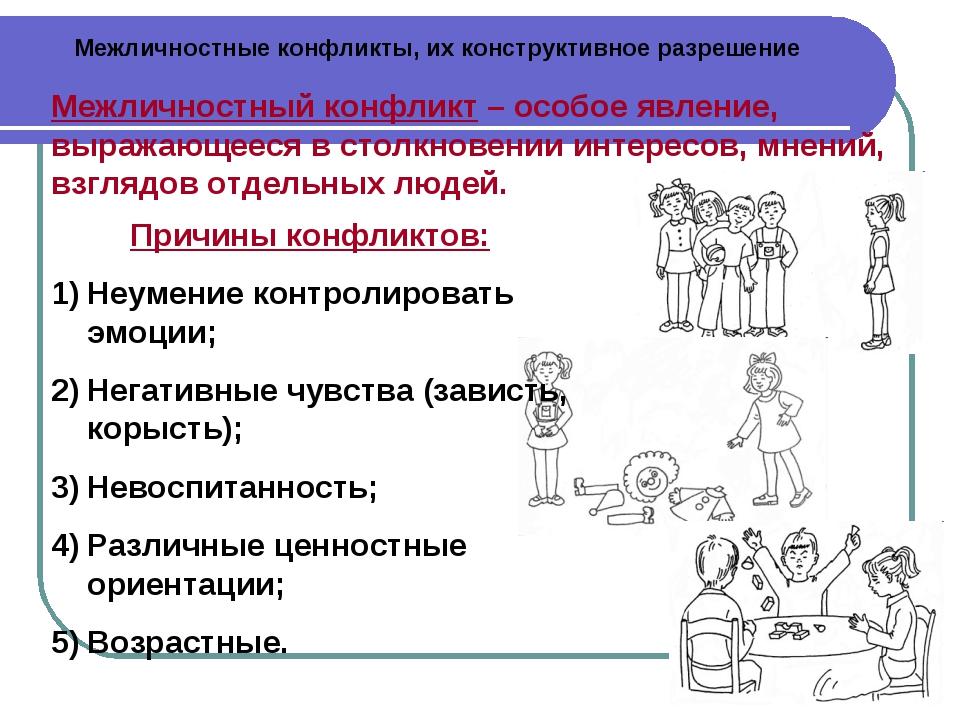 Межличностные конфликты, их конструктивное разрешение Межличностный конфликт...