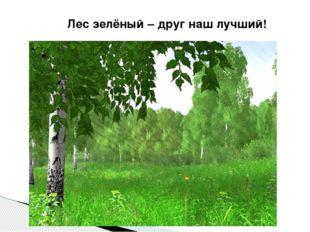 Лес зелёный – друг наш лучший!