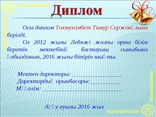 Осы диплом Тохмухамбет Тимур Сержанұлына берілді. Ол 2012 жылы Лебяжі жалпы