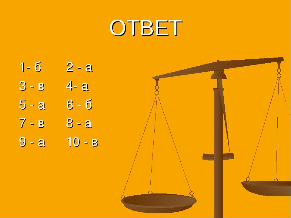 1- б 2 - а 3 - в 4- а 5 - а 6 - б 7 - в 8 - а 9 - а 10 - в ОТВЕТ