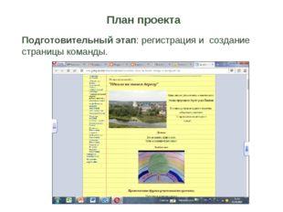 План проекта Подготовительный этап: регистрация и создание страницы команды.