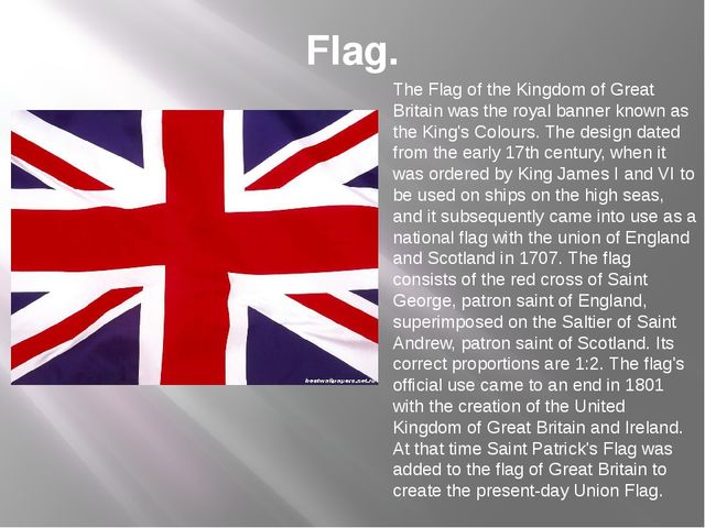 Flag. The Flag of the Kingdom of Great Britain was the royal banner known as...