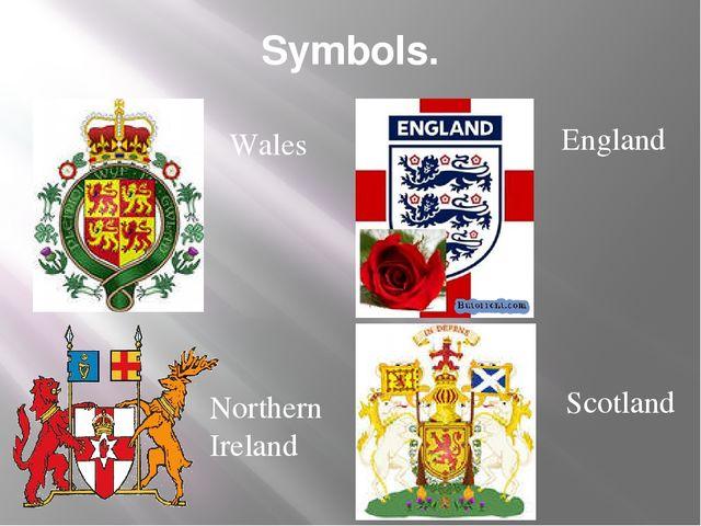 Symbols. Wales England Northern Ireland Scotland