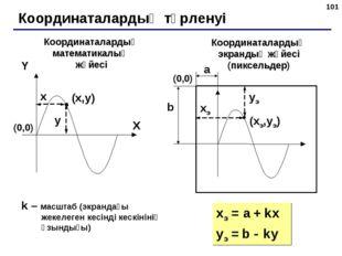 * Координаталардың түрленуі (x,y) X Y x y Координаталардың математикалық жүйе