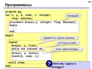 * Программасы program qq; var x, y, k, code, i: integer; stop: boolean; begin