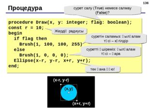 * Процедура procedure Draw(x, y: integer; flag: boolean); const r = 10; begin