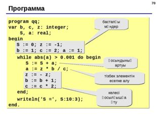 * Программа program qq; var b, c, z: integer; S, a: real; begin S := 0; z :=