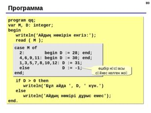 * Программа program qq; var M, D: integer; begin writeln('Айдың нөмірін енгіз