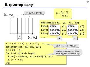 * Штрихтер салу (x1, y1) (x2, y2) N сызық (N=5) h Rectangle (x1, y1, x2, y2);