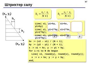 * Штрихтер салу (x1, y1) (x2, y2) hx hy y x y Line( x1, y1+hy, x1+hx, y1+hy)
