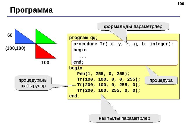 * Программа program qq; begin Pen(1, 255, 0, 255); Tr(100, 100, 0, 0, 255); T...