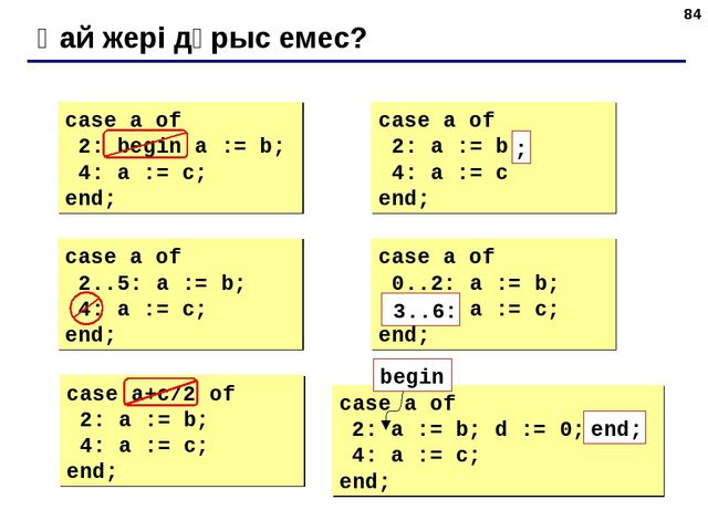 * Қай жері дұрыс емес? case a of 2: begin a := b; 4: a := c; end; case a of 2...