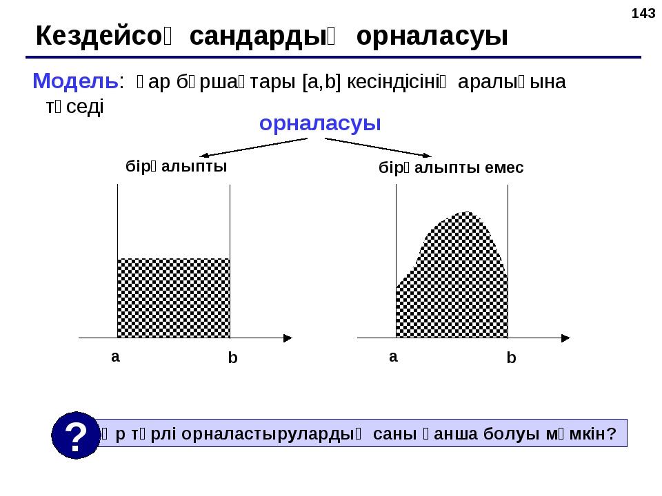 * Кездейсоқ сандардың орналасуы Модель: қар бұршақтары [a,b] кесіндісінің ара...