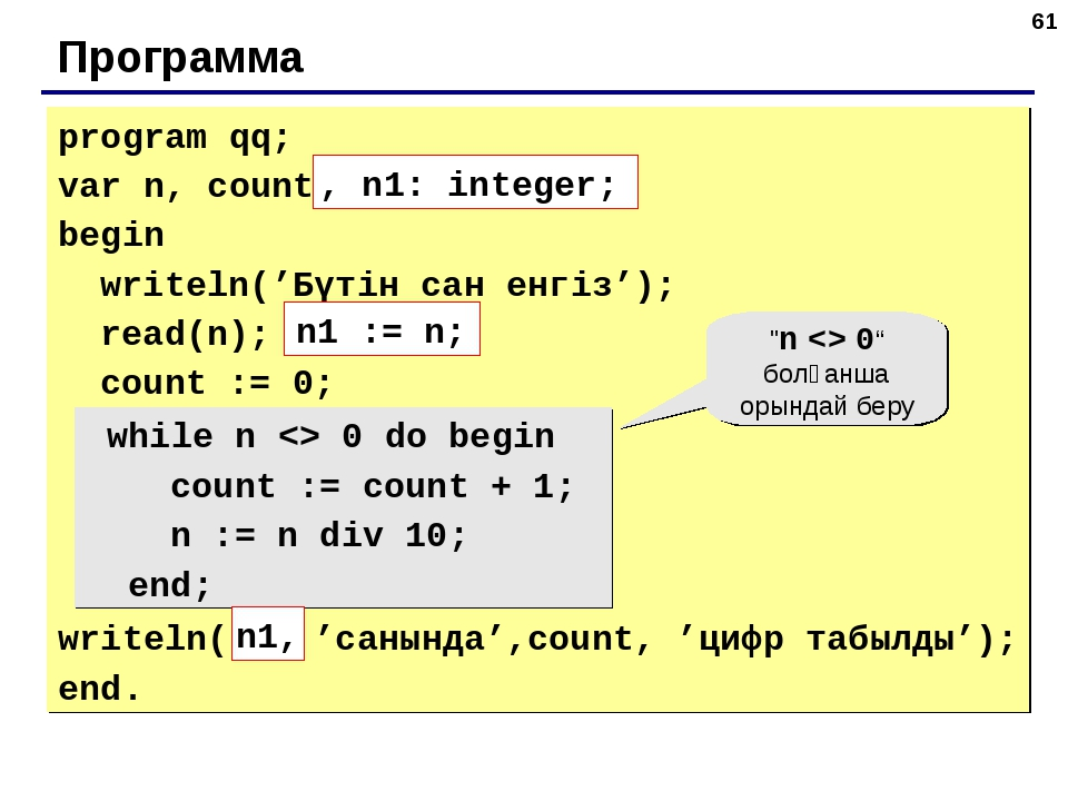 * Программа program qq; var n, count: integer; begin writeln('Бүтін сан енгіз...