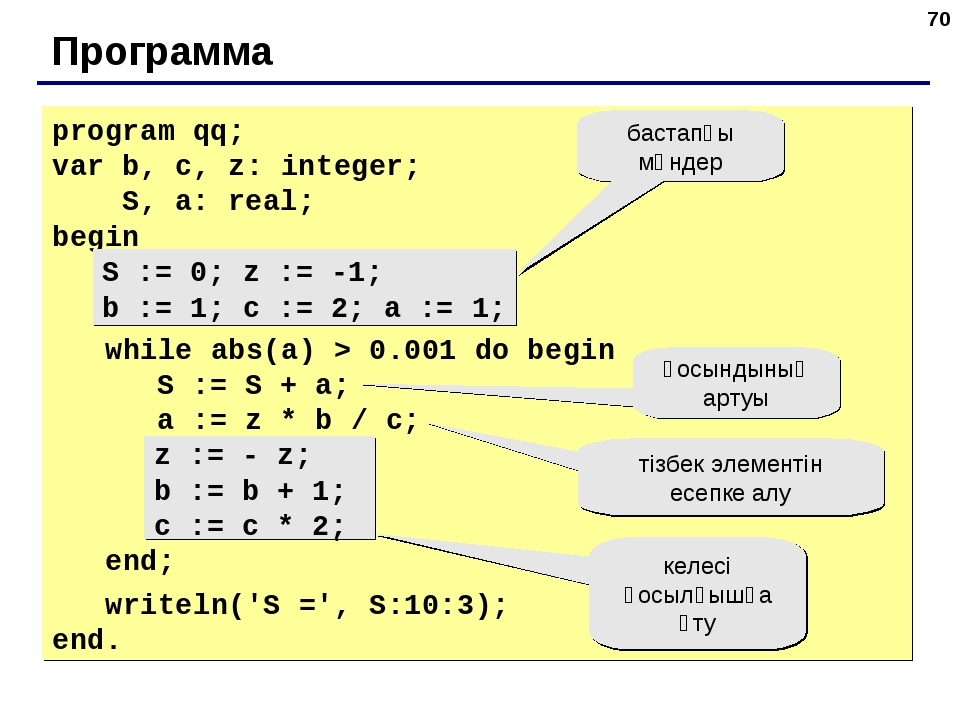 * Программа program qq; var b, c, z: integer; S, a: real; begin S := 0; z :=...