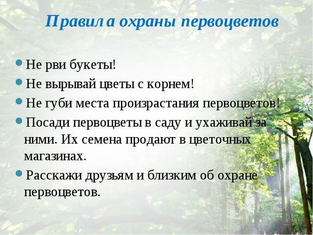 Правила охраны первоцветов Не рви букеты! Не вырывай цветы с корнем! Не губи...