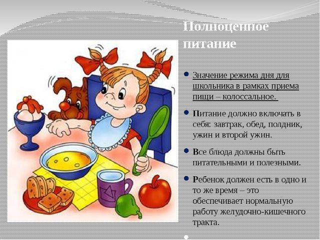 Полноценное питание Значение режима дня для школьника в рамках приема пищи –...