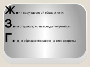 Ж.- я веду здоровый образ жизни; З.- я стараюсь, но не всегда получается; Г.-