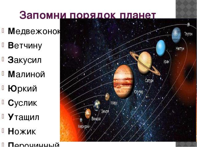Запомни порядок планет Медвежонок Ветчину Закусил Малиной Юркий Суслик Утащил...