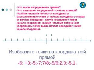 -Что такое координатная прямая? -Что называют координатой точки на прямой? -