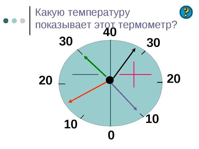 Какую температуру показывает этот термометр? 40 30 20 10 0 10 20 30