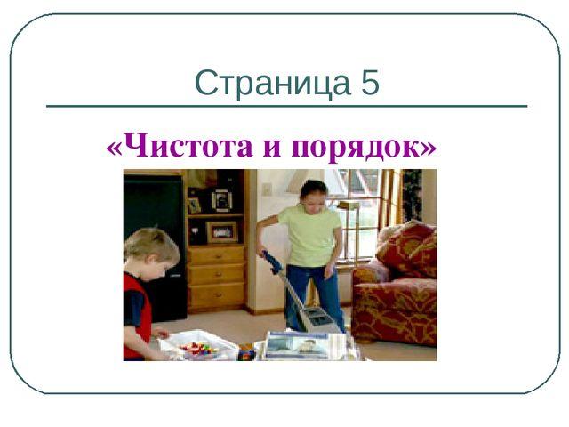 Страница 5 «Чистота и порядок»