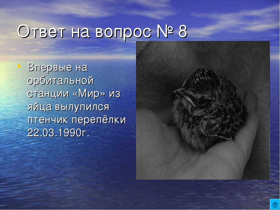 Ответ на вопрос № 8 Впервые на орбитальной станции «Мир» из яйца вылупился пт...