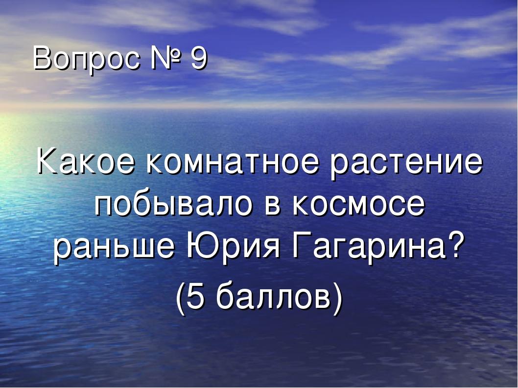 Вопрос № 9 Какое комнатное растение побывало в космосе раньше Юрия Гагарина?...