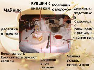 Чайник Кувшин с кипятком Молочник с молоком Ситечко с подставкой Сахарница с
