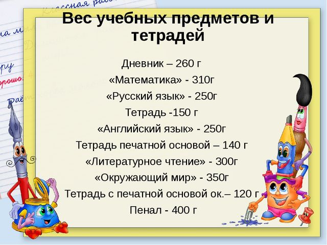 Дневник – 260 г «Математика» - 310г «Русский язык» - 250г Тетрадь -150 г «Анг...