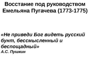 Восстание под руководством Емельяна Пугачева (1773-1775) «Не приведи Бог виде
