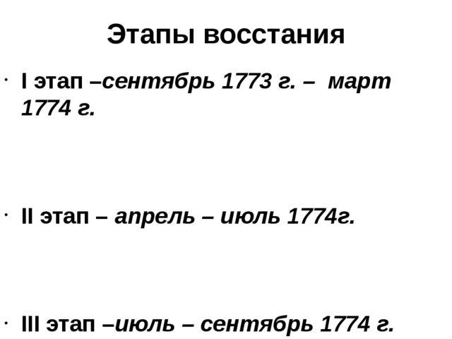 Этапы восстания I этап –сентябрь 1773 г. – март 1774 г. II этап – апрель – ию...
