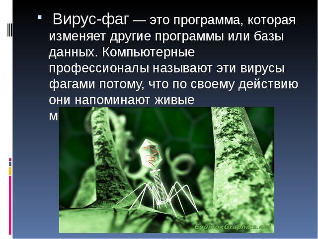 Вирус-фаг — это программа, которая изменяет другие программы или базы данных...