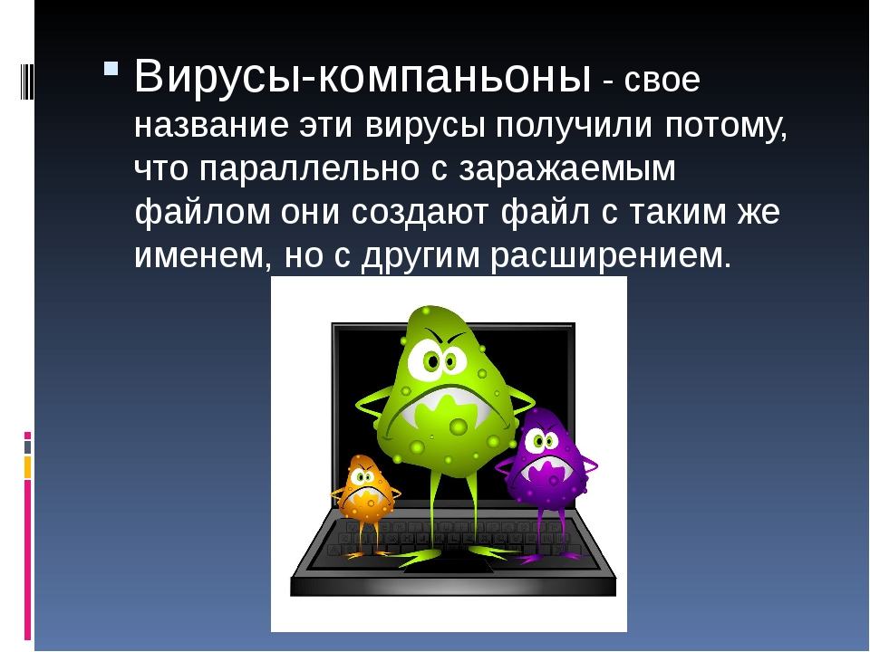Вирусы-компаньоны - свое название эти вирусы получили потому, что параллельно...
