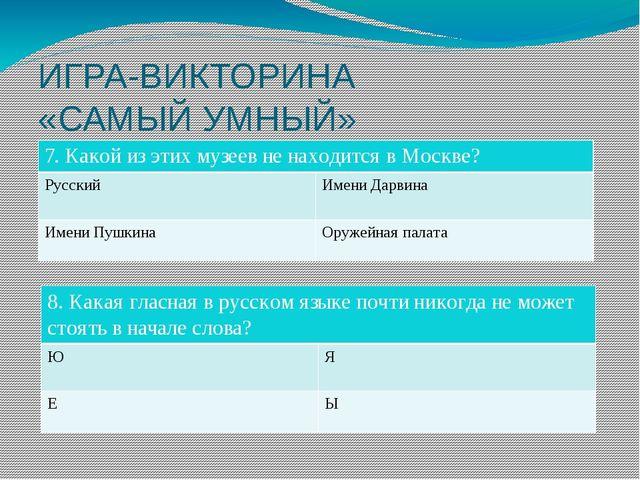 ИГРА-ВИКТОРИНА «САМЫЙ УМНЫЙ» 7. Какой из этих музеев не находится в Москве? Р...