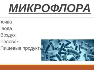 МИКРОФЛОРА почва вода Воздух Человек Пищевые продукты