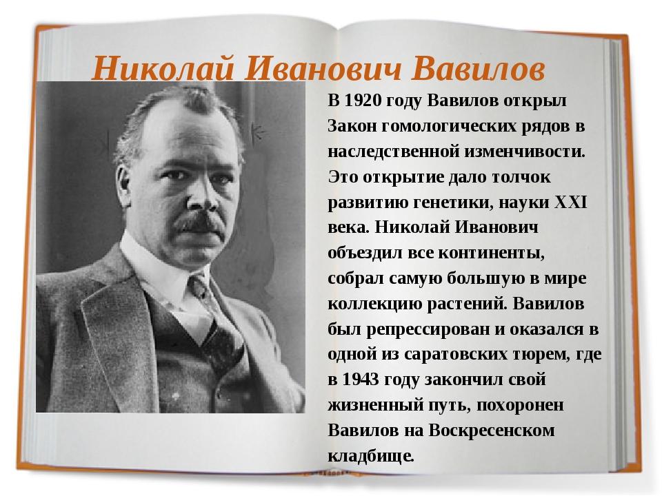 Николай Иванович Вавилов В 1920 году Вавилов открыл Закон гомологических рядо...