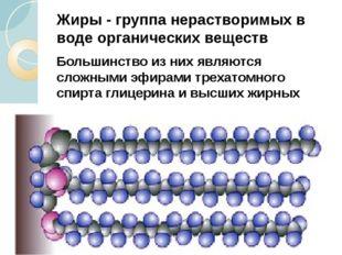 Жиры - группа нерастворимых в воде органических веществ Большинство из них яв