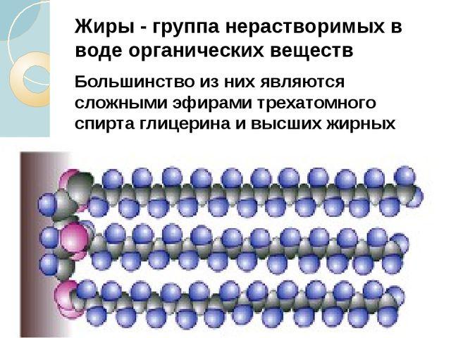Жиры - группа нерастворимых в воде органических веществ Большинство из них яв...