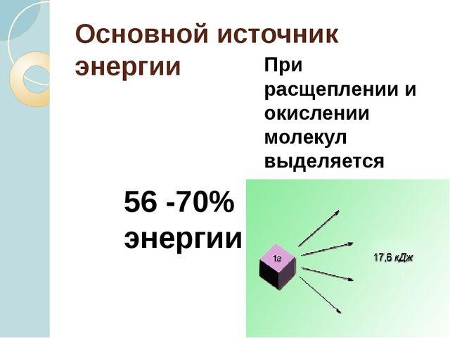 Основной источник энергии При расщеплении и окислении молекул выделяется знач...