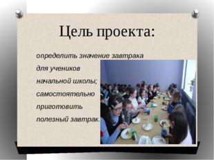 Цель проекта: определить значение завтрака для учеников начальной школы; само